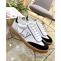 LV FRONTROW 2019 new female models wild casual color matching strap flat bottom shoes black