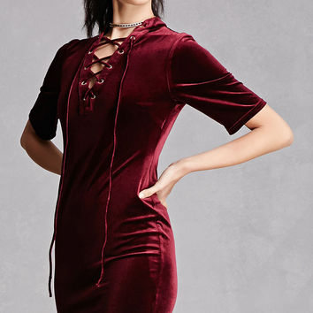 Lace-Up Velvet Mini Dress