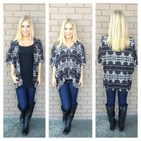 Black Aztec Zip Up Poncho