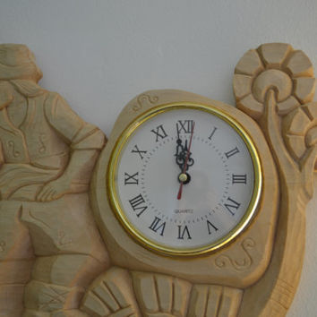 Wood carving, '' bagpiper'' wall clock,Wood Art ,handmade,gift,Art4U-in stock