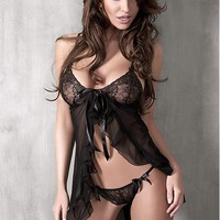[7.99] In Stock Hot & Sexy Lace Babydolls Lingerie With Bowknot % Mercerized Ribbon - dressilyme.com
