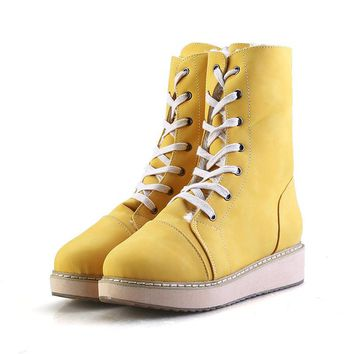 4 colors Fashion Winter Boots plush warm New Women Flat mid-calf Snow Boots Female Faux Suede Leather Lace-Up Shoes Plus size
