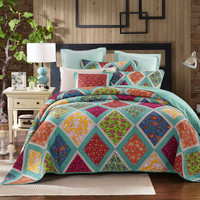Dada Bedding Reversible Bohemian Cotton Fairy Forest Glade Bright Floral Print Reversible Quilt, Cal King, King, Queen, Full, Twin, 2-3 Pieces (JHW570)