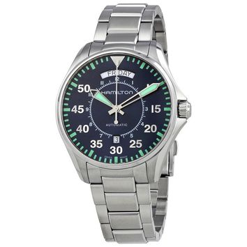 Hamilton Khaki Aviation Pilot Day Date Auto Blue Dial Mens Watch H64615145