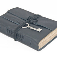 Black Leather Journal with Tea Stained Paper and Key Bookmark - Ready to ship -