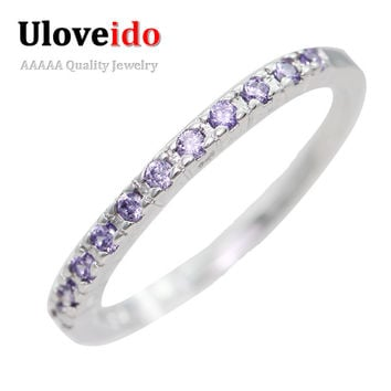 Size 6  Luxury Fashion Emerald Amethyst Ring with Color Crystal Stone for Women/Men Wedding Ring J029