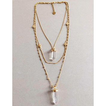 Long Layered Quartz Gold & Silver Chain Aria Pendant Necklace