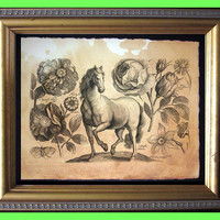 Horse with Flowers Art Print - Animal Art Print - Flower Art Print - Vintage Art Print on Tea Stained Paper - Vintage Art Print