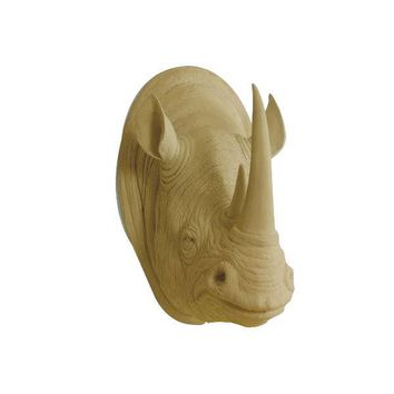 The Serengeti | Large Rhino Head | Faux Taxidermy | Khaki Brown Resin