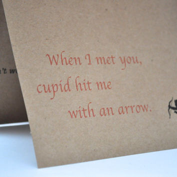 Funny Valentine card, adult theme, cupid arrow features violent theme