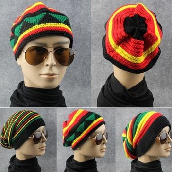 Winter Hip Hop Bob Jamaican cap Rasta Reggae Hat Multi-colour Striped Beanie Caps Hats For Men Women fashion new style Bonnet