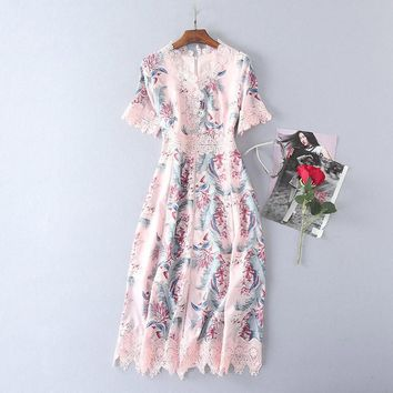 pink crochet lace floral dress bohemian clothing v neck short sleeve a line womens midi dress elegant summer dress free shipping