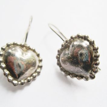 Small Sterling Silver Mexican Puffed Heart Earrings