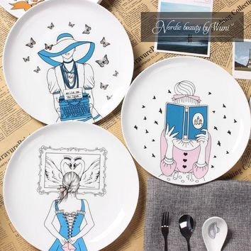 MDIG9GW New arrival 8 inch Dinner plates Nordic beauty High quality Bone china Love story Fairy Castle porcelain Dishes Free shipping