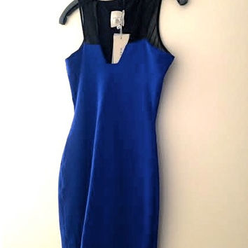 Sheer Mesh Tank Strap Contrast Knit Blue Bodycon Dress P/Xs/0 (Intermix) $400+ (Mason by Michelle Mason)