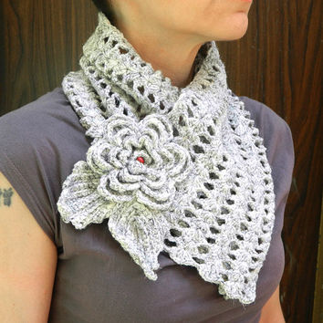 Fantasy lace crochet scarf neck warmer with detachable Irish crochet flower brooch
