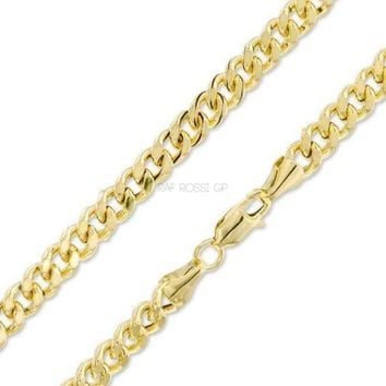 4mm Concave Cuban Curb 18k Gold Plated Chain