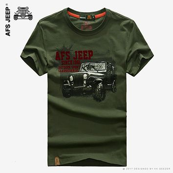 Famous Brand Men T Shirts Fashion 2016 Tops Tees Summer Short Sleeve T-shirt Anti-wrinkle Cotton Comfortable Loose AFS JEEP Car