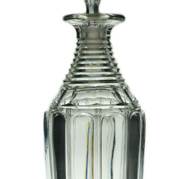 Cut Glass Whisky Barrel Decanter, Antique English 1830s