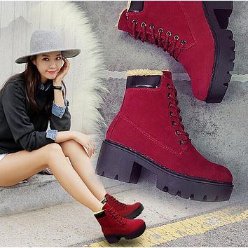 Round lace up casual shoes Martin boots