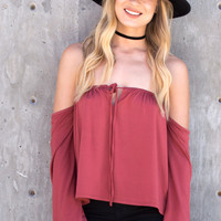 Lana Tie Front Off The Shoulder Top - Rust