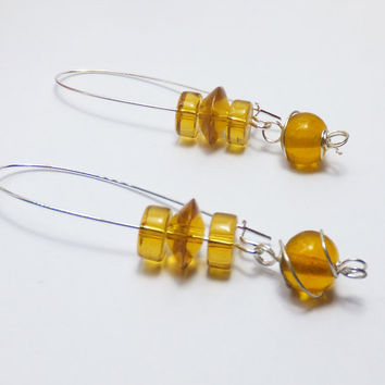 Amber Yellow Glass Beads on Long Silver-Plated Earwires Earrings