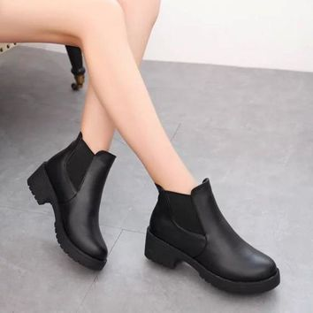 New Women Black Round Toe Chunky Casual Ankle Boots
