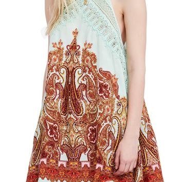 Free People Shea Printed Halter Neck Minidress | Nordstrom