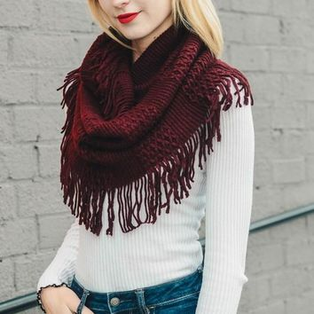 Ready For Fall Fringe Infinity Scarf, Burgundy