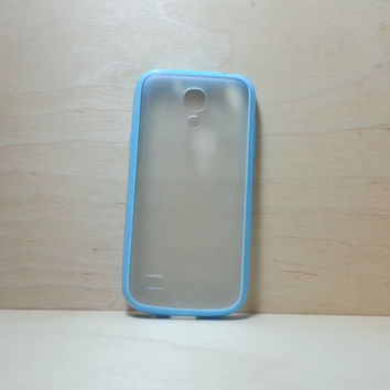 Samsung Galaxy S4 (Mini) Case Silicone Bumper and Translucent Frosted Hard Plastic Back - Light Blue