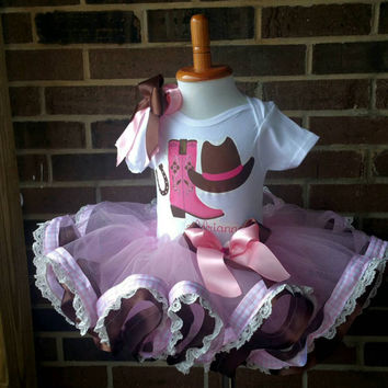 pink Cowgirl ribbon tutu set, Western ribbon tutu, cowgirl tutu birthday Cowgirl Boots Cowgirl Birthday Outfit- Pink and brown- Includes top