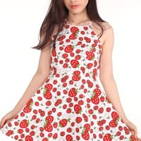 Glitters For Dinner — Made To Order - Betty Halter Mini Dress in Strawberry Print
