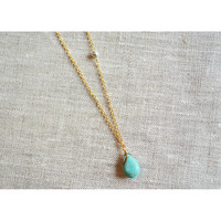 Turquoise Sideways Gold Necklace - BellaJoo Jewelry