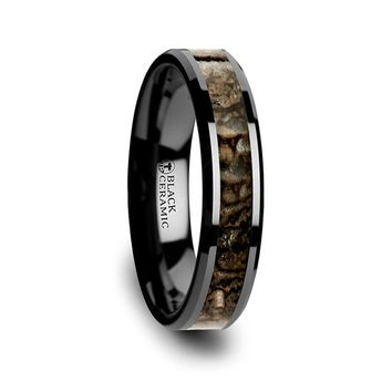Black Ceramic Band with Dinosaur Bone Inlay