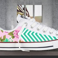 ALL COLORS Floral Chevron Printed Converse All Star Chuck Taylor Sneakers (Unisex)