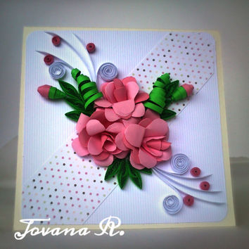 Unique handmade greeting card, birthday card,   Wedding card, Anniversarie card, Love You,