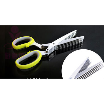 Sharp 5 Blade Herb Scissors Kitchen Snips Gadgets Tools Multi Shredding Shears