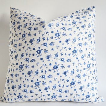 ON SALE - Canvas Pillow Cover Roses - decorative throw pillows - navy blue throw pillows - euro pillow covers - 20x20 pillows