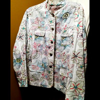 Chico's Floral Print Jacket Size 2 U.S Size 12/14   Hawaiian    FREE SHIPPING!!!