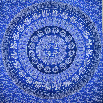 Blue Multi Elephants Sun Ombre Mandala Wall Tapestry on RoyalFurnish.com