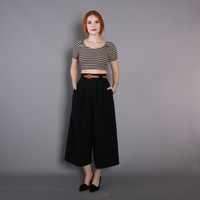 80s TAILORED Black CULOTTES / 1980s High Waisted Wool Cropped Wide Leg TROUSERS