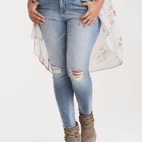 Torrid Premium Stretch Jeggings - Light Wash with Ripped Destruction