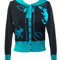 Voodoo Vixen Elise Blue Cat Cardigan Sweater