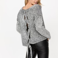 Mariah Grey Open Back Sweater