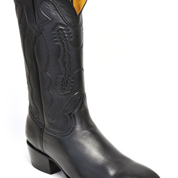 Gavel Handcrafted Men's Black Goatskin French Square Toe Cowboy Boots