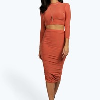 Suvi Rouched Sleeve Midi Skirt Co-Ord Set