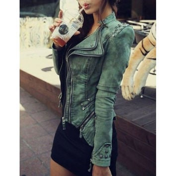 Fashion rivet denim lapel jacket