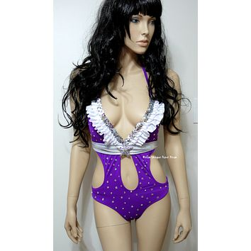 Indigo Rainbow Brite Monokini Cosplay Dance Costume Rave Bra Rave Wear Halloween