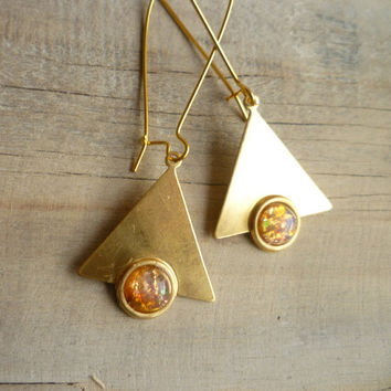 Eighties Geometric Opal Earrings  Vintage Gold by SilkPurseSowsEar