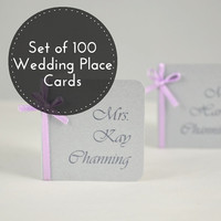 Silver Placecards - 100 Wedding Place Cards - Silver Wedding Place Cards - Custom Place Cards -  Wedding favor cards - Wedding name cards